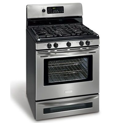 This model was tops in gas, with perfect marks for browning and simmering on the stovetop: less turning and stirring needed when you cook. In the center, there's a fifth griddle burner that's ideal for making gravy in a roasting pan. The oven produced superior cakes and cookies, a result of its very even heating pattern. Below the oven there's a second smaller one to press into action for baking biscuits while the turkey's roasting or to use as a warming drawer. (frigidaire.com)