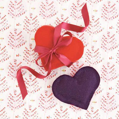 <p>Create a fragrant sachet to perfume shirts, linens or lacy underthings — no sewing required!</p>  <br /><p>Draw a template of a heart about 5 inches wide on a piece of paper. Cut out the heart, trace it twice onto felt (we used multiple colors for a punchy two-tone effect) and cut out your two felt hearts. Starting just below the widest point of one of the hearts, carefully squeeze a thin line of fabric glue along the inner perimeter, leaving the top third of the heart glue-free. Align the second heart neatly on top of the first, press the two together to create a pocket and leave it to dry. Stuff the pocket with some dried lavender (not too full to close), dab a bit more glue on the inner edge of the open part of the pocket and seal by pressing the edges together. Let it dry again — and give it to someone you adore!</p>