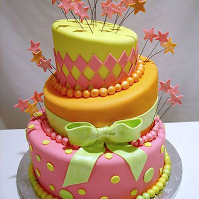 "Go crazy with a topsy-turvy cake in bright colors.  <br /><i>By <a href=""http://www.pinkcakebox.com"" target=""blank"">Pink Cake Box</a> in Denville, NJ.<br />$715, serves 65</i>"