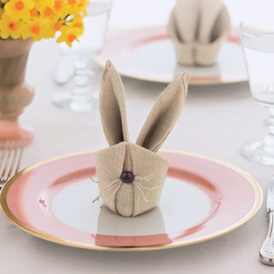 Create this adorable Easter-themed place setting in 13 easy-to-follow steps & Bunny Napkins - How to Fold Bunny Napkins