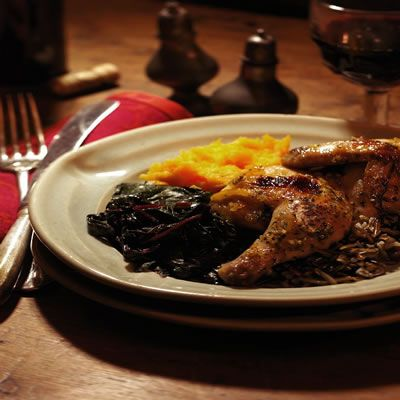 "<p>Cornish hens cook up — juicy and succulent — in less than 45 minutes. Here, orange marmalade, spiked with ginger, makes an easy and delicious glaze that is sure to impress your guests.</p><br /> <p><b>Recipe: </b><a href=""/recipefinder/ginger-orange-glazed-cornish-hens-recipe-4176"" target=""_blank""><b>Ginger-Orange Glazed Cornish Hens</b></a></p>"