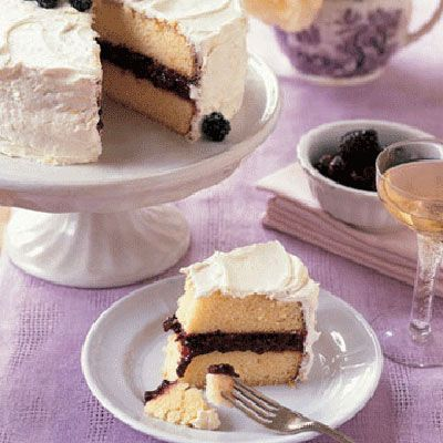 """Filled with cassis-spiked blackberry jam and coated with lemon buttercream, our Lemon-Blackberry Cake is both delicious and beautifully display-worthy for a party. <br /><br /><b>Recipe: <a href=""""/recipefinder/lemon-blackberry-cake-3802"""" target=""""_blank"""">Lemon-Blackberry Cake</a></b>"""