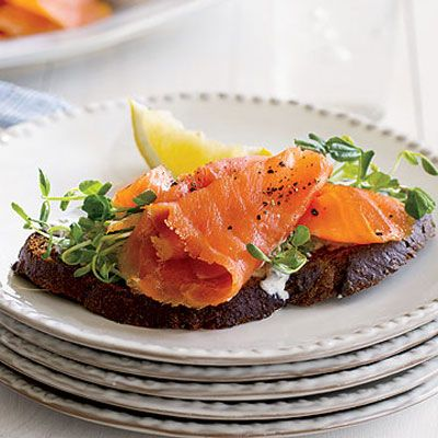 "Crowd-pleasing, tangy smoked salmon toasts go well with champagne cocktails, brunch, or as the first course to a sit-down shower luncheon. <br /><br /> <b>Recipe: <a href=""/recipefinder/smoked-salmon-toast-clv0707""target=""_new"">Smoked Salmon Toasts</a></b>"