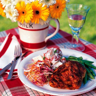 """Whether you're planning an intimate outdoor barbecue or an elaborate poolside party, this menu of American classics is sure to put a new spin on some of your old summertime favorites.<br /><br /> <b><a href=""""/entertaining-ideas/parties/barbecue-grilling/all-american-barbecue-recipes""""target=""""_new"""">All-American Barbecue Recipes</a></b>"""