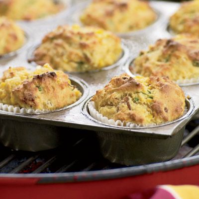 """<p>When making these bacon-and-scallion-flecked corn muffins — a great accompaniment to all kinds of barbecue — chef Nick Fauchald prefers the grill to a conventional oven for two reasons: The muffins absorb some of the grill's great smoky flavors, and he can spend that much more time outside. </p><br /><p><b>Recipe: </b><a href=""""/recipefinder/grill-roasted-bacon-scallion-corn-muffins-recipe"""" target=""""_blank""""><b>Grill-Roasted Bacon-and-Scallion Corn Muffins</b></a></p>"""