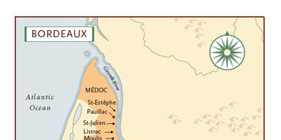 """This province of France is rich with excitement and history, and the best part is that the wines speak for themselves. Some 57 wine regions in Bordeaux produce high-quality wines. Four stand out for red wine: Médoc, Pomerol, Graves/Pessac-Légnan, and St-Émilion.<br /><br /> The three major grapes used are Merlot, Cabernet Sauvignon, and Cabernet Franc. In Bordeaux, red wines are almost always made from a blend of grapes.<br /><br />  <i>Map illustration courtesy of</i> <a href=""""http://search.barnesandnoble.com/booksearch/isbnInquiry.asp?r=1&ISBN=9781402767678&ourl=Windows-on-the-World%2FKevin-Zraly&cm_mmc=Sterling%20Publishers-_-Kevin%20Zralys%20Windows%20On%20The%20World%20Complete%20Wine%20Course:%20Anniversary%20Edition-_-k118314-_-Text&IF=N"""" target=""""_blank"""">Windows on the World Complete Wine Course: 25th Anniversary Edition</a> <i>by Kevin Zraly</i>"""