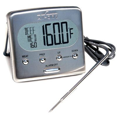 "<p>This is the Cadillac of food thermometers. Made of stainless steel, it's handsome, highly accurate, and easy to use. The base sits on the countertop, top of the range, or grill sidebar and has a long wire attached to a probe that you insert into food at the beginning of cooking (don't worry, the wire won't block the oven door from closing properly). You can choose one of the preset temperatures programmed into the unit or select your own. When the food reaches the desired temperature, the unit beeps to alert you that it's ready. If you like, you can also use it as an instant-read — it responds in less than five seconds. (<a href=""http://www.williams-sonoma.com"" target=""_blank"">williams-sonoma.com</a>)  </p><br /><p><b>Try this product while cooking: <a href=""/recipefinder/pork-tenderloin-cherry-chutney-ghk"" target=""_blank"">Pork Tenderloin with Cherry Chutney</a></b></p>"