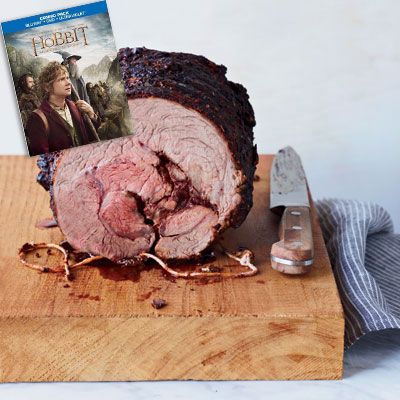 "<p><i>(Best Visual Effects Nominee, 2013)</i></p>  <p><b>Recipes:</b> <a href=""/recipefinder/beef-chuck-eye-roast-paprika-herb-rub-recipe-fw0512""><b>Beef Chuck Eye Roast</b></a> (pictured)<br /> <a href=""/recipefinder/roasted-potatoes-fresh-herbs-recipe-clx0312"">Roasted Potatoes with Fresh Herbs</a><br /> <a href=""/recipefinder/popovers-ghk2001""><b>Popovers</b></a></p>  <p>Before Bilbo Baggins (Martin Freeman) sets out on a quest to help reclaim Erebor for the Dwarves, he needs a bit of convincing. A quiet meal at home turns into quite the gathering when twelve dwarves, Gandalf (Ian McKellen), and Thorin Oakenshield (Richard Armitage) arrive to discuss the upcoming quest. The dwarves pull all of the food out of the pantry and dine on a feast of warming comfort foods. Meats, breads, potatoes, cheeses — everything a hungry quester needs before a long journey!</p>"