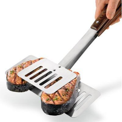 "<p>Even the most talented  grill chef has been known to flub a flip of a fish fillet or two. Help keep steaks juicy, fish intact, and kebabs stacked with this double-sided spatula. (<a href=""http://www.brookstone.com/2-in-1-BBQ-Tool.html?his=2~46337~2~root_category%40kwd~grill&bkiid=searchResults