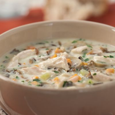 """<p>This is a healthier twist on a classic creamy turkey and wild rice soup that hails from Minnesota. Serve with a crisp romaine salad and whole-grain bread.</p><p><b>Recipe:</b> <a href=""""/recipefinder/cream-of-turkey-wild-rice-soup-recipe-6683"""" target=""""_blank""""><b>Cream of Turkey and Wild Rice Soup</b></a></p>"""