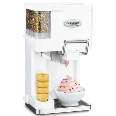 "<p>Children especially liked this easy-to-operate machine, which makes soft-serve cones and sundaes. The machine is fast — creating 1 1/2 quarts of fresh ice cream in about a half hour — and has built-in dispensers for mix-ins, such as sprinkles, chocolate chips, and chopped nuts. For the best results, leave the ice cream sitting in the machine for a little while after the 20-minute cycle ends so that it can firm up a bit. ($99; <a href=""http://www.macys.com"" target=""_blank"">macys.com</a>)</p> <br /><p><b>Recipe Suggestion: <a href=""/recipefinder/heavenly-fresh-mint-ice-cream"" target=""_blank"">Heavenly Fresh Mint Ice Cream</a></b></p>"