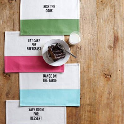 "<p>Make a statement at the dinner table with these fun, casual place mats from Kate Spade. The tabletop accessory comes in four colors with quirky quotes: Aqua (Dance On The Table), French Navy (Save Room For Dessert), Picnic Green (Kiss The Cook), or Snapdragon (Eat Cake For Breakfast).  <a href=""http://www.neimanmarcus.com/Kate-Spade-Food-for-Thought-Placemat-Home/prod169280028_cat45460755__/p.prod?icid=&searchType=EndecaDrivenCat&rte=%252Fcategory.jsp%253FitemId%253Dcat45460755%2526pageSize%253D30%2526No%253D0%2526refinements%253D&eItemId=prod169280028&cmCat=product"" target=""_blank"">neimanmarcus.com</a>, $16, sold individually.</p>"
