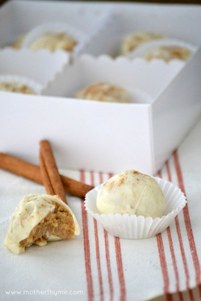 "<p>All the delicious taste of freshly baked apple pie — plus a healthy helping of Golden Oreos — without any of the baking.</p> <p><strong>Get the recipe from <a href=""http://www.motherthyme.com/2012/10/apple-cinnamon-truffles.html"" target=""_blank"">Mother of Thyme</a>.</strong></p>"