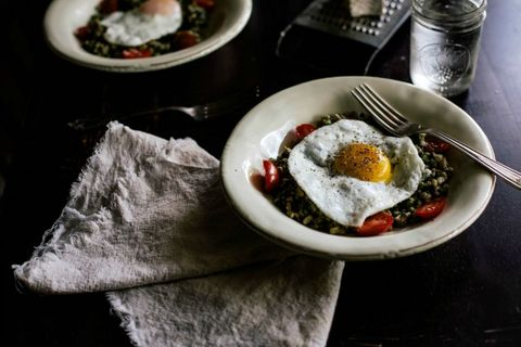 "<p>Everything about this cozy looking dish calls to us. Absolutely everything.</p> <p><strong>Get the recipe from <a href=""http://localmilkblog.com/2013/08/farro-risotto-purslane-pistachio-pesto.html"" target=""_blank"">Local Milk</a>.</strong></p>"