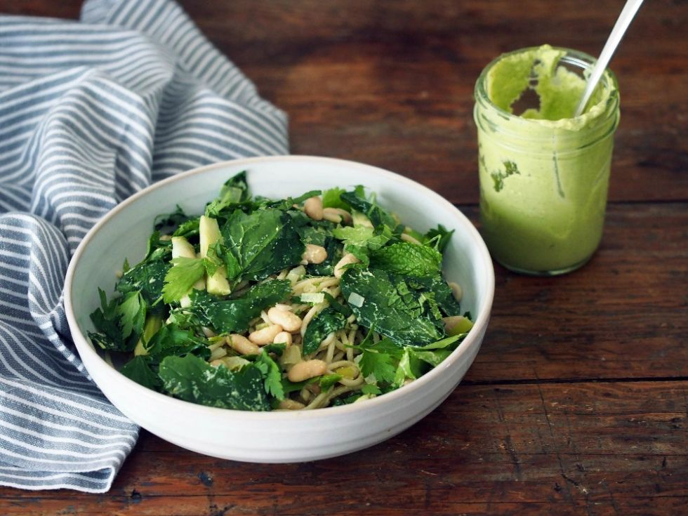 "<p>Delicious, healthy, and vegan. When was the last time you felt <em>that</em> good about diving into a bowl of noodles?</p> <p><strong>Get the recipe from <a href=""http://ashleyneese.com/blog/purslane-fennel-pasta-with-dill-cream/"" target=""_blank"">Ashley Neese</a>.</strong></p>"