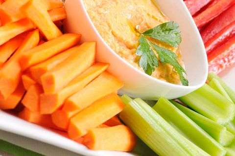 <p>It's OK to (sometimes) play with your food. For my family, this means cutting vegetables into bite-size pieces and serving them with a light dip. Bauer favorites: baby carrots, sugar snap peas, red bell pepper and celery sticks, and grape tomatoes.</p>