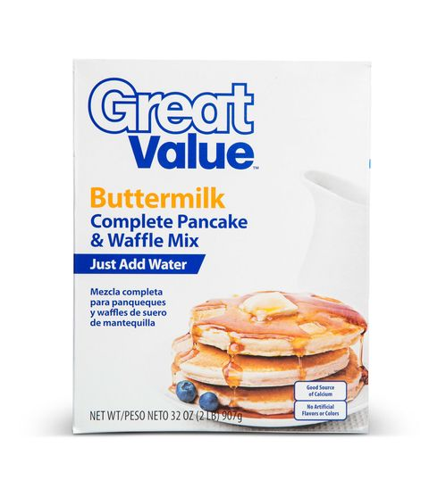 <p>You want this mix when you run out of eggs—it calls only for water. That plus the price means it's a host's best friend.</p> <p><em>Great Value Buttermilk Complete Pancake & Waffle Mix, $1.66 for a 32-oz box</em></p>
