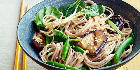 """<p>For this Japanese dish, try Japanese eggplants — slightly sweeter than regular ones (narrower and straighter, too). Find them at a local farmers' market or farm stand.</p> <p><strong>Recipe: <a href=""""http://www.delish.com/recipefinder/soba-miso-glazed-eggplant-recipe-ghk0914"""" target=""""_blank""""> Soba With Miso-Glazed Eggplant </a></strong></p>"""