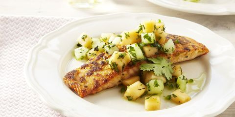ginger crusted salmon with melon salsa