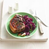 rosemary skillet pork chops with quick braised cabbage