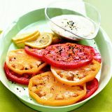 heirloom tomatoes with lemon tahini