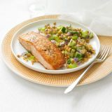 seared salmon with lentil salad