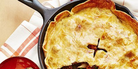 """<p>A store-bought crust makes this one-pan beef pie even easier, and the hearty filling is sure to make for a family favorite.</p> <p><strong>Recipe: <a href=""""http://www.delish.com/recipefinder/beef-stout-skillet-pie-recipe-wdy0914"""" target=""""_blank"""">Beef and Stout Skillet Pie</a></strong></p>"""