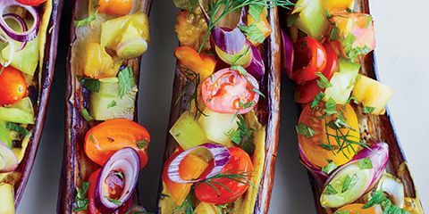 """<p>F&W Best New Chef 2014 Cara Stadler creates a fantastic vegetarian dish, topping miso-baked eggplants with a bright tomato-and-herb salad and a black vinegar dressing.</p><p><strong>Recipe:</strong> <a href=""""http://www.delish.com/recipefinder/miso-roasted-eggplants-tomatoes-dill-shiso-black-vinegar-recipe-fw0714""""><strong>Miso-Roasted Eggplants with Tomatoes, Dill, Shiso, and Black Vinegar</strong></a></p>"""