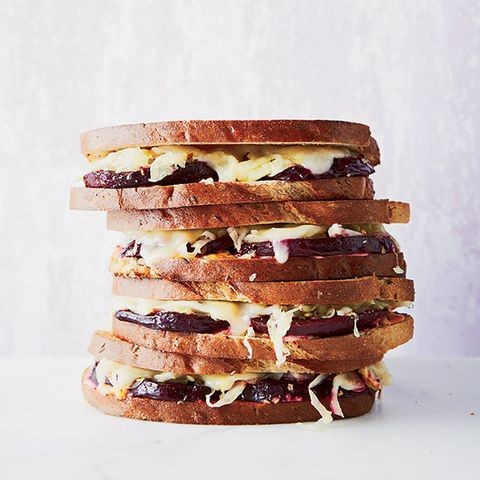 "<p>With this sandwich, chef Todd Ginsberg proves that vegetarian versions of classic meat dishes can be just as delicious. Here, in place of the pastrami, Ginsberg sprinkles roasted beet slices with smoked salt, then serves them on buttered rye toast with all the traditional condiments: sauerkraut, melted Swiss cheese, and homemade Russian dressing.</p> <p><strong>Recipe:</strong> <a href=""http://www.delish.com/recipefinder/smoky-vegetarian-beet-reubens-recipe-fw0414"" target=""_blank""><strong>Smoky Vegetarian Beet Reubens</strong></a></p>"