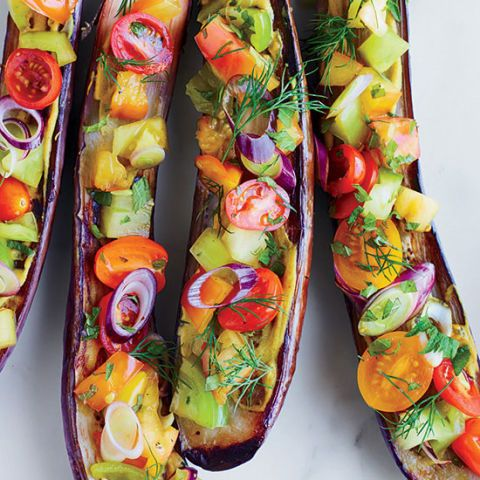 "<p>F&W Best New Chef 2014 Cara Stadler creates a fantastic vegetarian dish, topping miso-baked eggplants with a bright tomato-and-herb salad and a black vinegar dressing.</p><p><strong>Recipe:</strong> <a href=""http://www.delish.com/recipefinder/miso-roasted-eggplants-tomatoes-dill-shiso-black-vinegar-recipe-fw0714""><strong>Miso-Roasted Eggplants with Tomatoes, Dill, Shiso, and Black Vinegar</strong></a></p>"