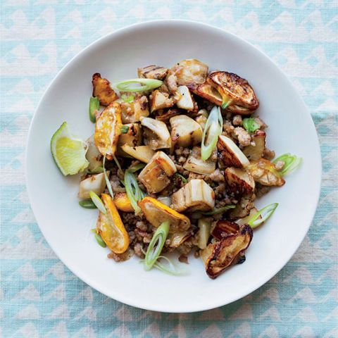 """<p>In this one-skillet dish, F&Ws Kay Chun cleverly uses quick-cooking ground pork as a shortcut.</p><p><strong>Recipe:</strong> <a href=""""http://www.delish.com/recipefinder/pork-eggplant-stir-fry-recipe-fw0714""""><strong>Pork and Eggplant Stir-fry</strong></a></p>"""