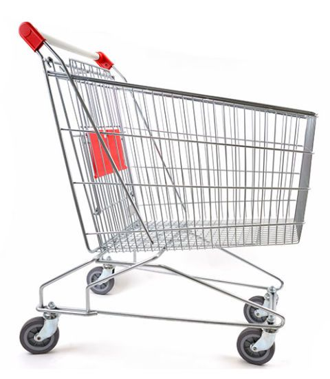 "<p class=""p1"">Carts are going through a major growth spurt—some megastores even have a flatbed style you can use to hold 100 rolls of toilet paper. Don't automatically grab the giant cart. Instead, use it for a big shop, and a basket for a smaller haul. Otherwise, ""things have a way of finding a spot in your cart,"" says Russ Winer, a professor of marketing at NYU's Stern School of Business, who suggests heading to a smaller store where you won't be tempted to overbuy. And remember: ""A big shopping cart doesn't need to be filled up all the way,"" Lempert says.</p>"