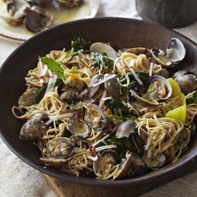 angel hair pasta with clams radishes spinach