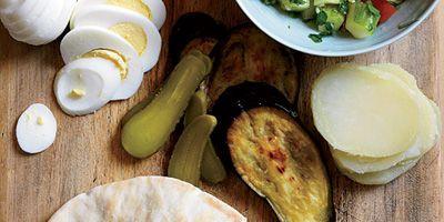israeli roast eggplant hummus pickle sandwiches
