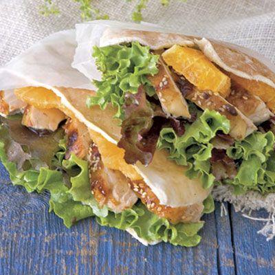 spicy orange and sesame chicken sandwiches