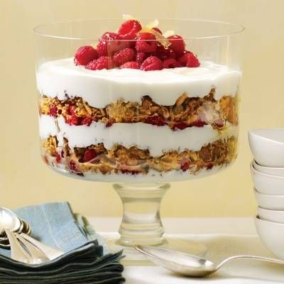 yogurt parfait with granola raspberries and candied ginger