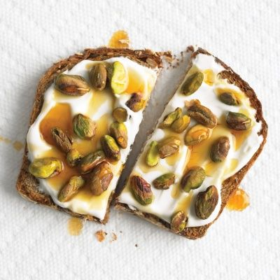 whole grain toast with yogurt and pistachios