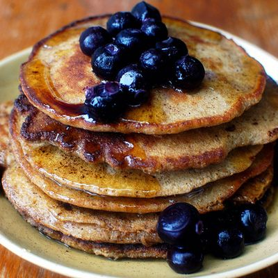 whole grain gluten free pancakes with blueberries