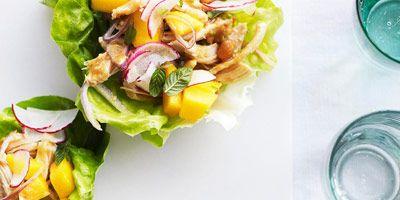 chicken peanut salad in lettuce cups