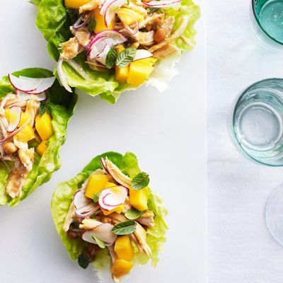 chicken peanut salad in lettuce cups