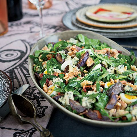 collard greens blue potato and bacon salad