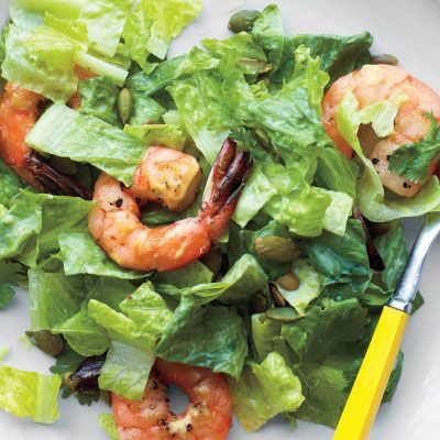 chopped salad with shrimp and lime buttermilk dressing