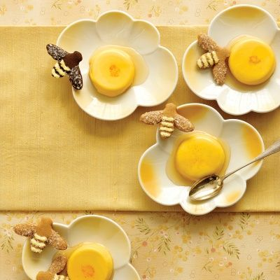 honey saffron panna cottas
