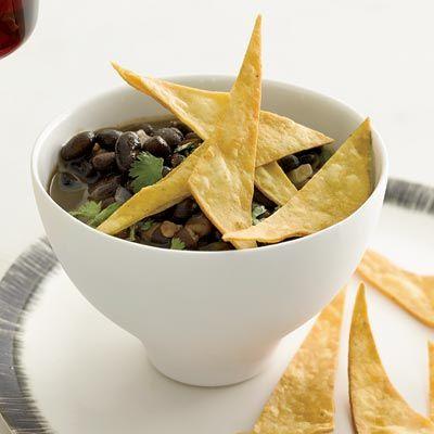 black bean soup with crispy tortillas