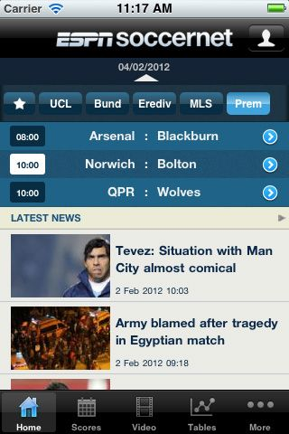 ESPNsoccernet app launches on iPhone