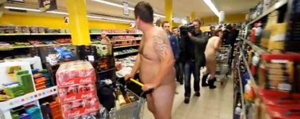 Naked in supermarket