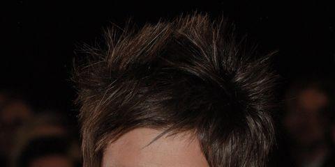 Lip, Hairstyle, Collar, Dress shirt, Chin, Forehead, Eyebrow, Formal wear, Eyelash, Style,