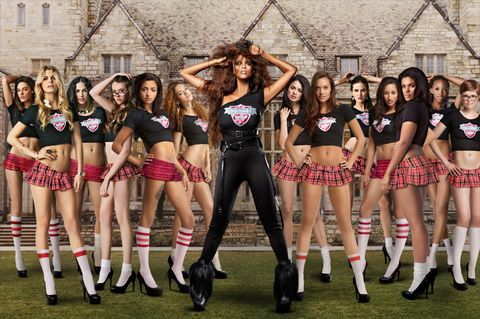 Footwear, Leg, Human leg, Social group, Team, Cheerleading uniform, Uniform, Performing arts, Thigh, Abdomen,