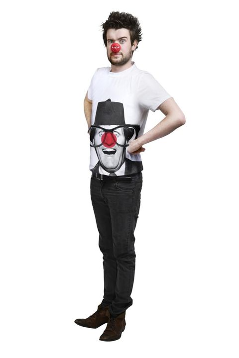 Standing, Jeans, Style, Denim, Costume accessory, Costume, Waist, Animation, Mime artist, Pocket,