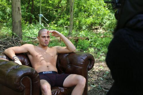 Gay Spy: Max George shirtless in the woods for underwear